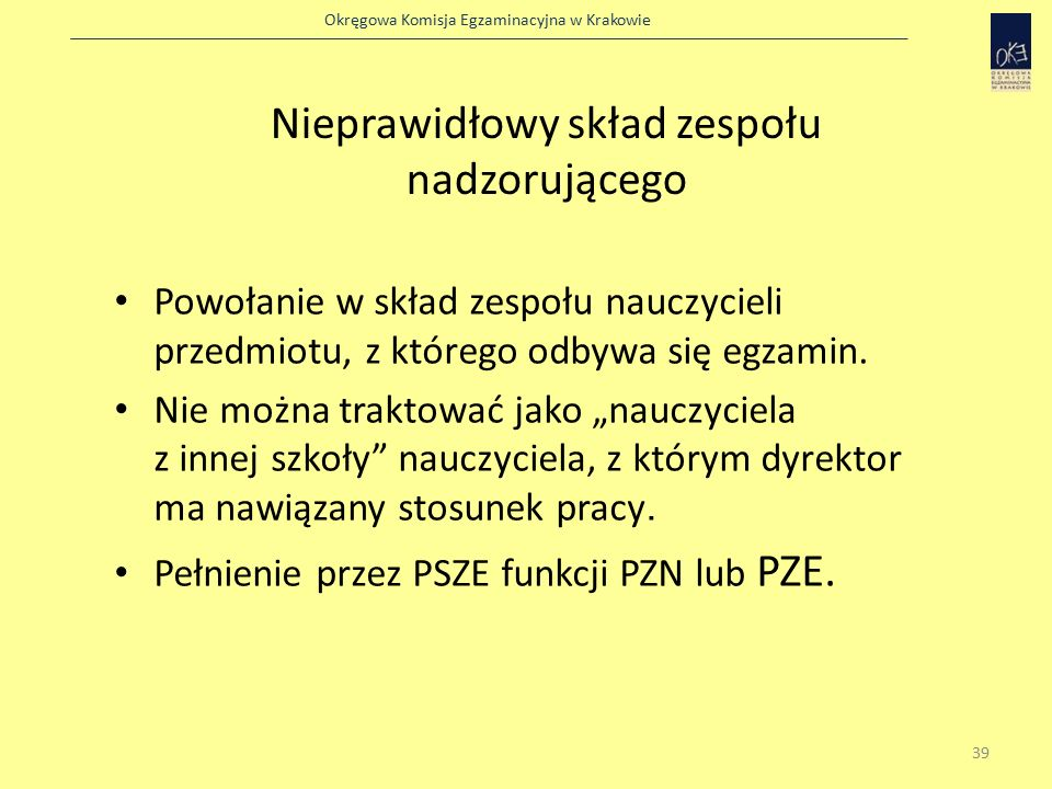 Okręgowa Komisja Egzaminacyjna w Krakowie Nieprawidłowy skład zespołu nadzorującego Powołanie w skład zespołu nauczycieli przedmiotu, z którego odbywa się egzamin.