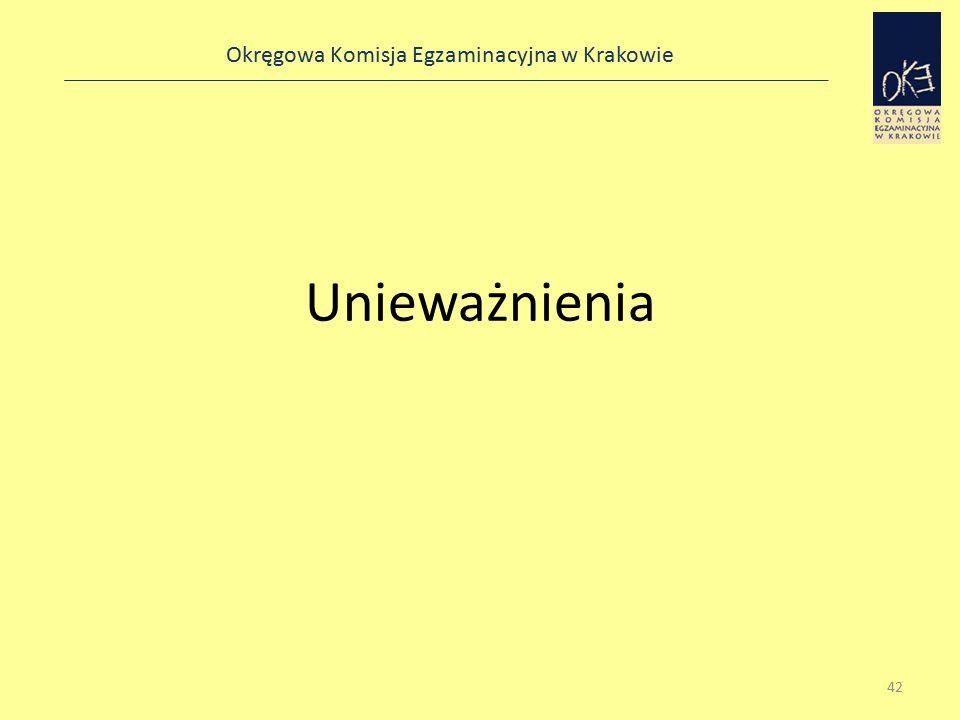 Okręgowa Komisja Egzaminacyjna w Krakowie Unieważnienia 42