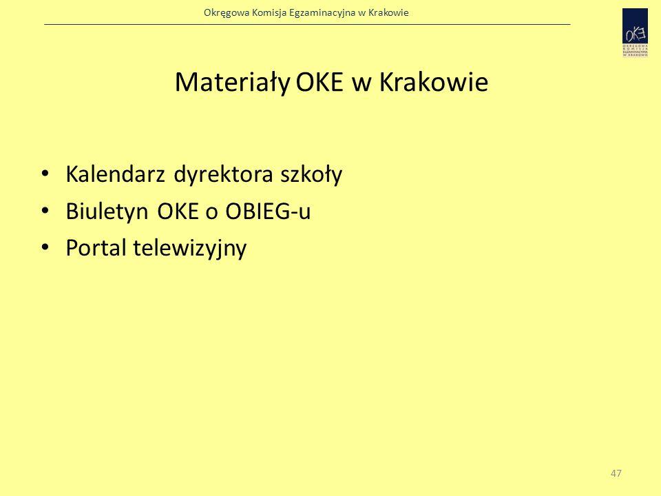 Okręgowa Komisja Egzaminacyjna w Krakowie Materiały OKE w Krakowie Kalendarz dyrektora szkoły Biuletyn OKE o OBIEG-u Portal telewizyjny 47