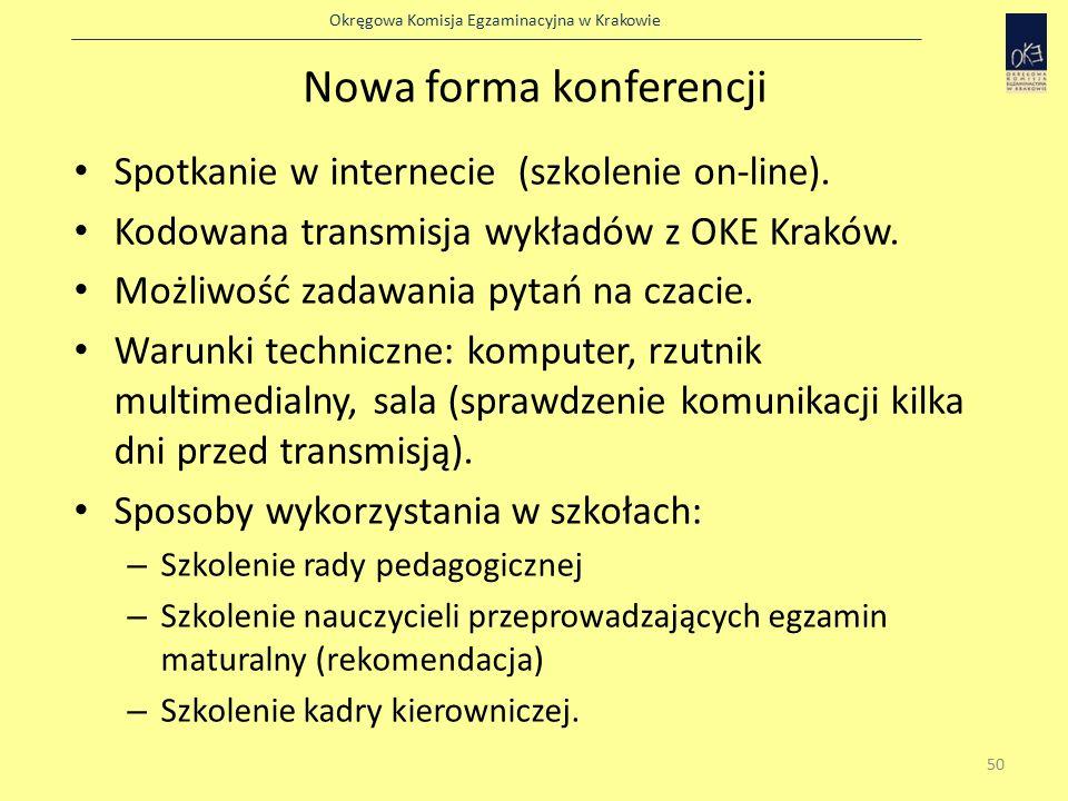 Okręgowa Komisja Egzaminacyjna w Krakowie Nowa forma konferencji Spotkanie w internecie (szkolenie on-line).