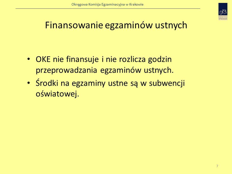 Okręgowa Komisja Egzaminacyjna w Krakowie Finansowanie egzaminów ustnych OKE nie finansuje i nie rozlicza godzin przeprowadzania egzaminów ustnych.