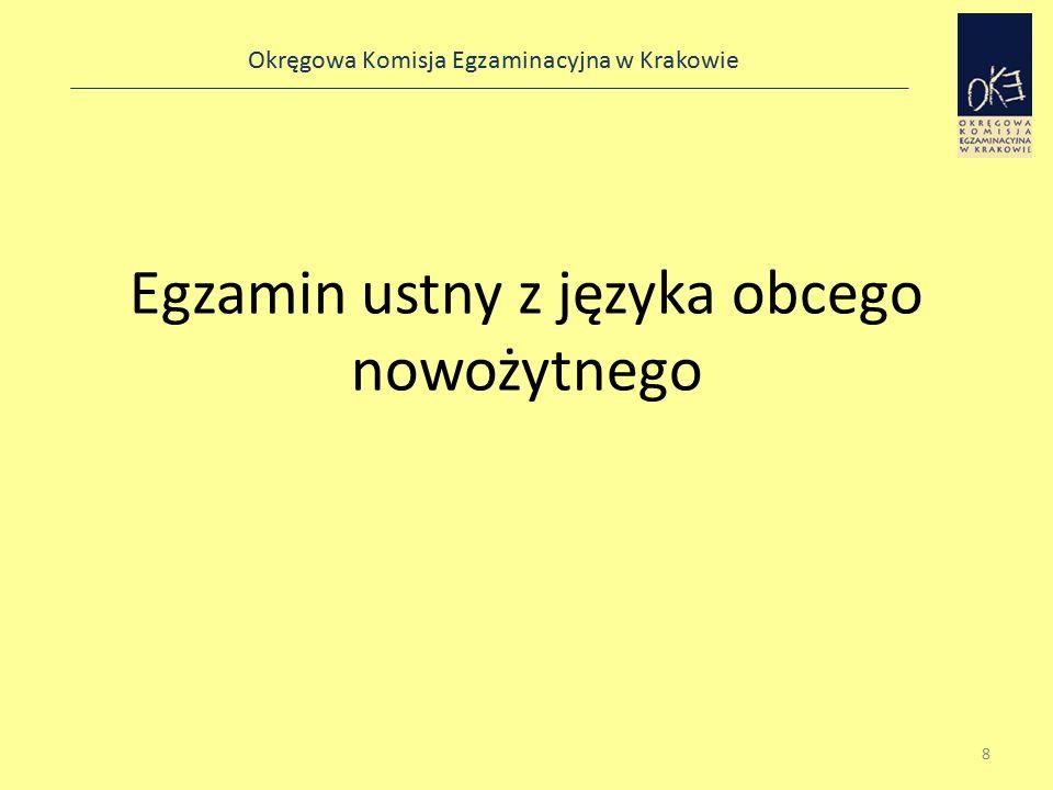 Okręgowa Komisja Egzaminacyjna w Krakowie Egzamin ustny z języka obcego nowożytnego 8