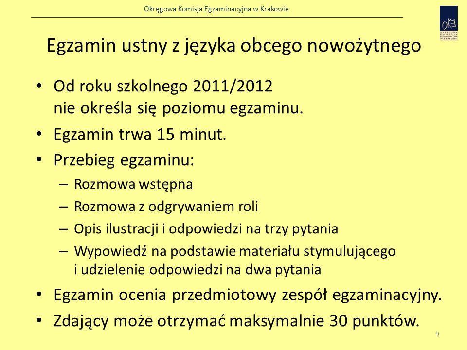 Okręgowa Komisja Egzaminacyjna w Krakowie Egzamin ustny z języka obcego nowożytnego Od roku szkolnego 2011/2012 nie określa się poziomu egzaminu.