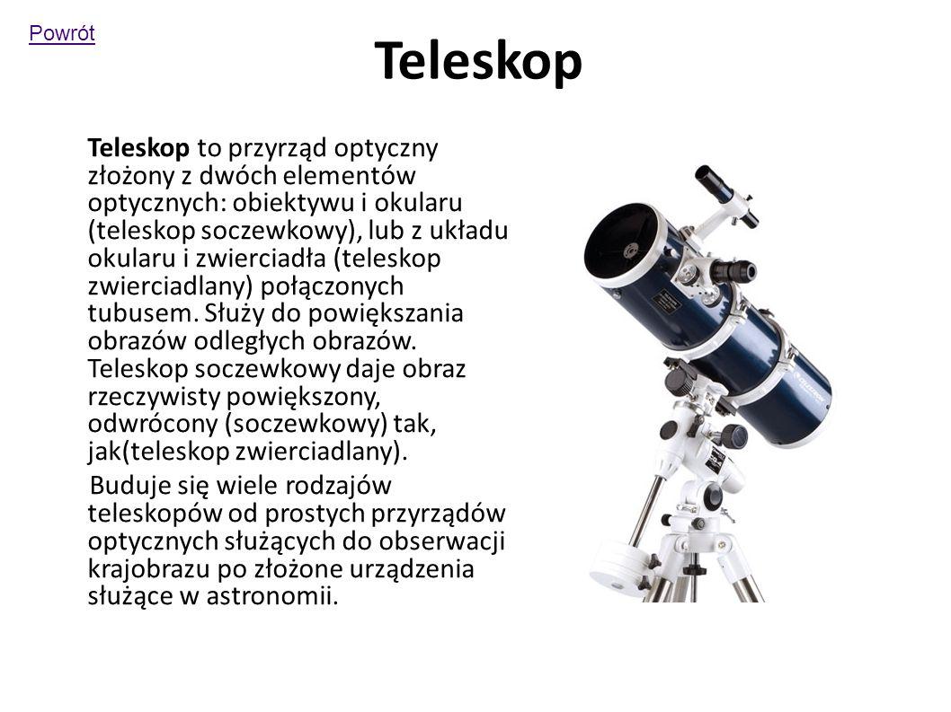 Teleskop Teleskop to przyrząd optyczny złożony z dwóch elementów optycznych: obiektywu i okularu (teleskop soczewkowy), lub z układu okularu i zwierciadła (teleskop zwierciadlany) połączonych tubusem.