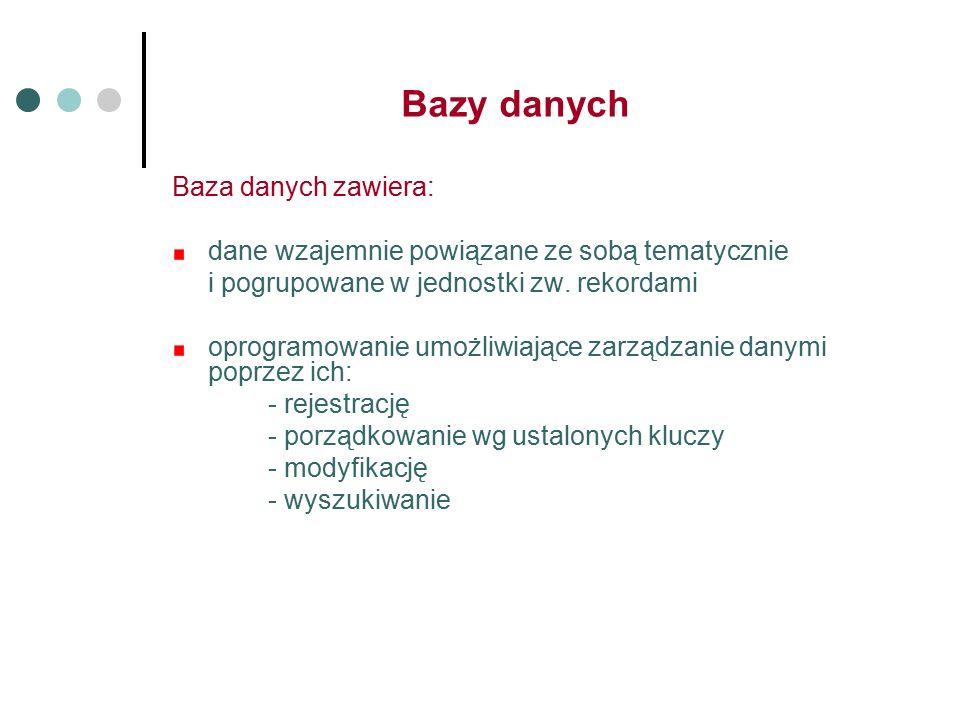 Bazy danych Baza danych zawiera: dane wzajemnie powiązane ze sobą tematycznie i pogrupowane w jednostki zw.