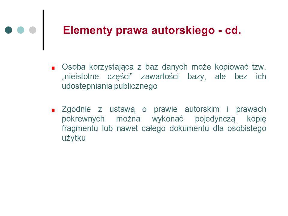 Elementy prawa autorskiego - cd. Osoba korzystająca z baz danych może kopiować tzw.