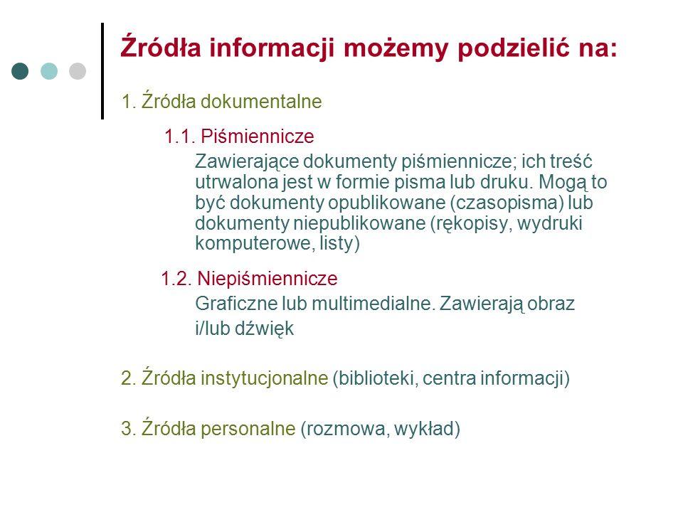 Źródła informacji możemy podzielić na: 1. Źródła dokumentalne 1.1.