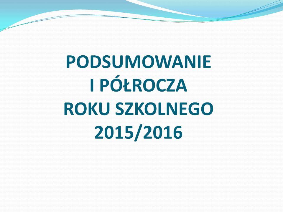 PODSUMOWANIE I PÓŁROCZA ROKU SZKOLNEGO 2015/2016