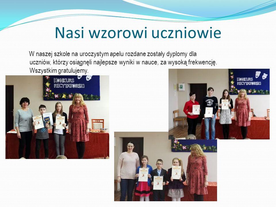 Nasi wzorowi uczniowie W naszej szkole na uroczystym apelu rozdane zostały dyplomy dla uczniów, którzy osiągnęli najlepsze wyniki w nauce, za wysoką frekwencję.