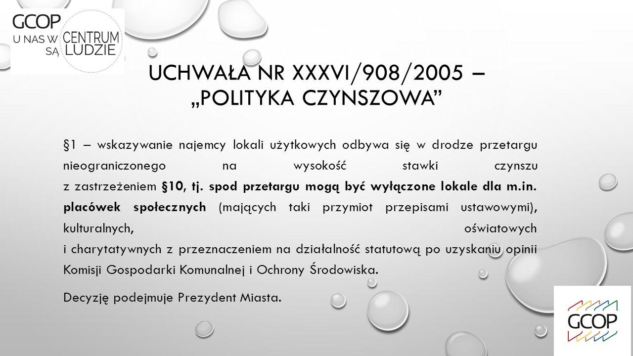 """UCHWAŁA NR XXXVI/908/2005 – """"POLITYKA CZYNSZOWA §1 – wskazywanie najemcy lokali użytkowych odbywa się w drodze przetargu nieograniczonego na wysokość stawki czynszu z zastrzeżeniem §10, tj."""