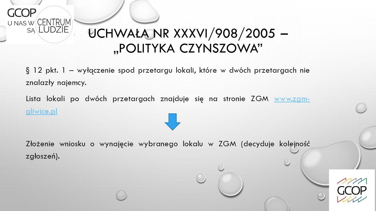 """UCHWAŁA NR XXXVI/908/2005 – """"POLITYKA CZYNSZOWA"""" § 12 pkt. 1 – wyłączenie spod przetargu lokali, które w dwóch przetargach nie znalazły najemcy. Lista"""