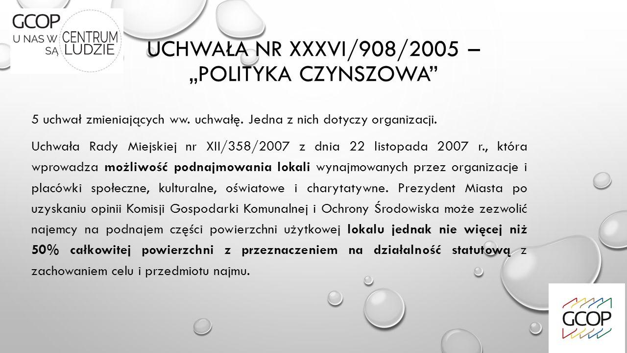 """UCHWAŁA NR XXXVI/908/2005 – """"POLITYKA CZYNSZOWA"""" 5 uchwał zmieniających ww. uchwałę. Jedna z nich dotyczy organizacji. Uchwała Rady Miejskiej nr XII/3"""