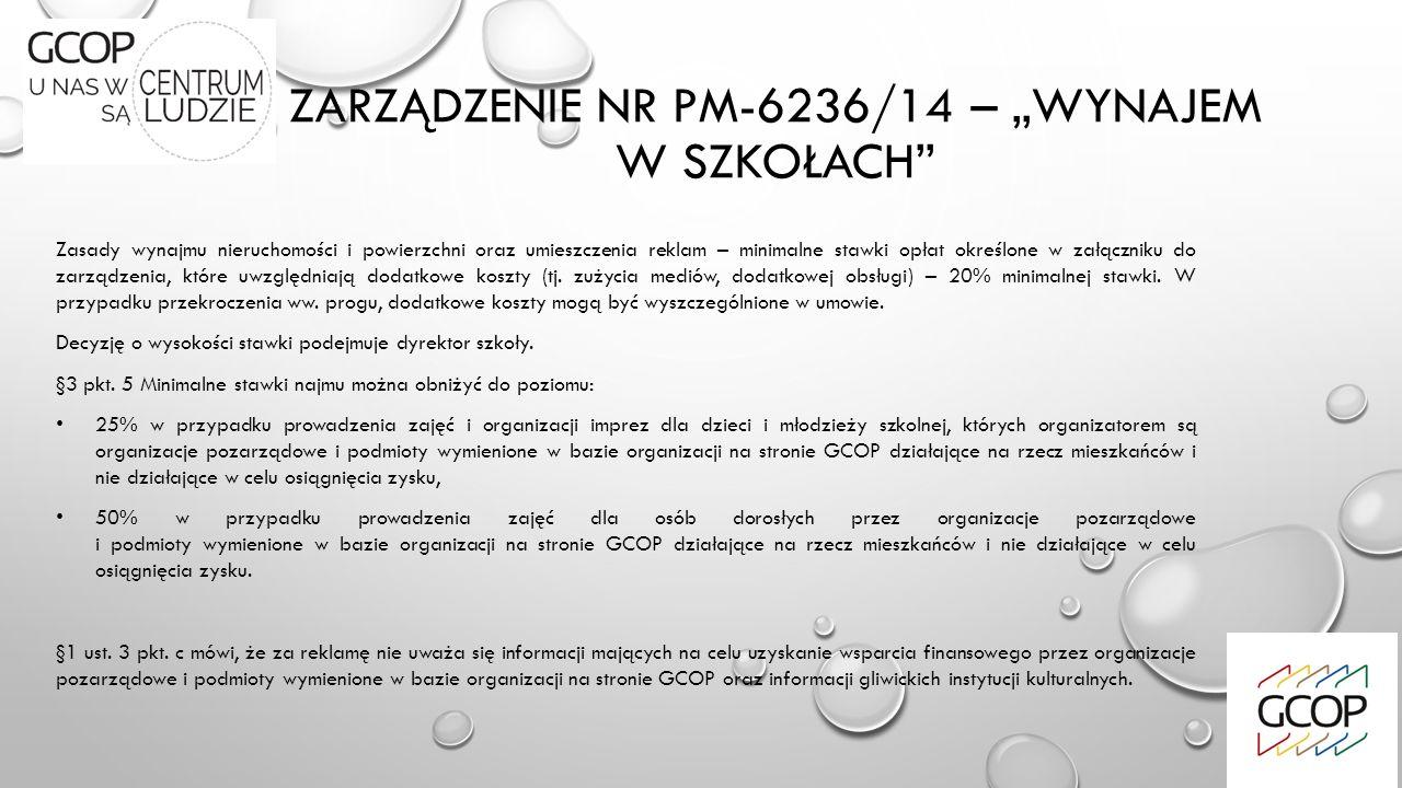 """ZARZĄDZENIE NR PM-6236/14 – """"WYNAJEM W SZKOŁACH Zasady wynajmu nieruchomości i powierzchni oraz umieszczenia reklam – minimalne stawki opłat określone w załączniku do zarządzenia, które uwzględniają dodatkowe koszty (tj."""
