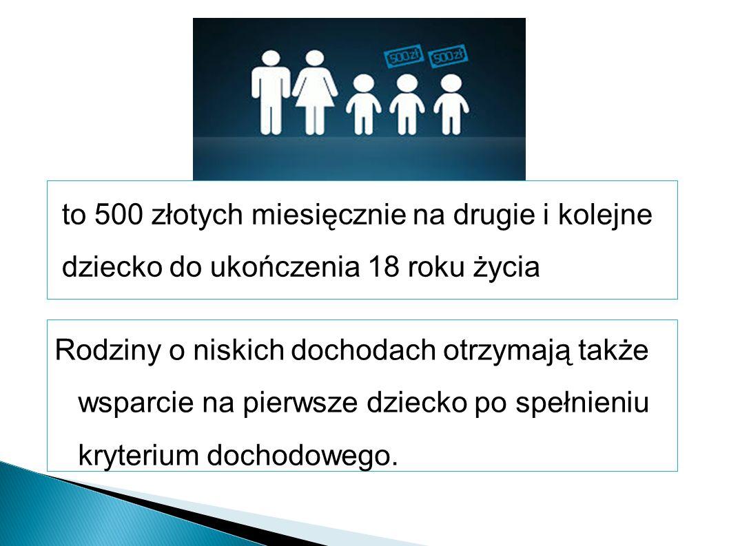 to 500 złotych miesięcznie na drugie i kolejne dziecko do ukończenia 18 roku życia Rodziny o niskich dochodach otrzymają także wsparcie na pierwsze dziecko po spełnieniu kryterium dochodowego.
