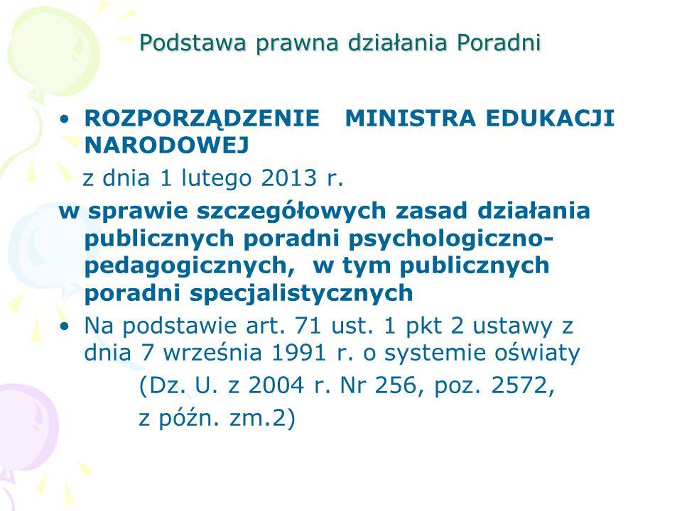 Podstawa prawna działania Poradni ROZPORZĄDZENIE MINISTRA EDUKACJI NARODOWEJ z dnia 1 lutego 2013 r. w sprawie szczegółowych zasad działania publiczny