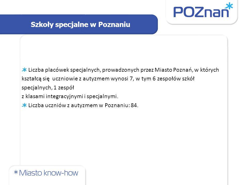 Szkoły specjalne w Poznaniu Liczba placówek specjalnych, prowadzonych przez Miasto Poznań, w których kształcą się uczniowie z autyzmem wynosi 7, w tym 6 zespołów szkół specjalnych, 1 zespół z klasami integracyjnymi i specjalnymi.