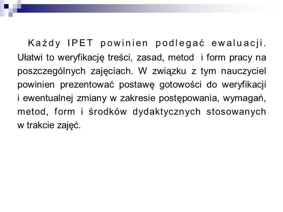 Każdy IPET powinien podlegać ewaluacji. Ułatwi to weryfikację treści, zasad, metod i form pracy na poszczególnych zajęciach. W związku z tym nauczycie