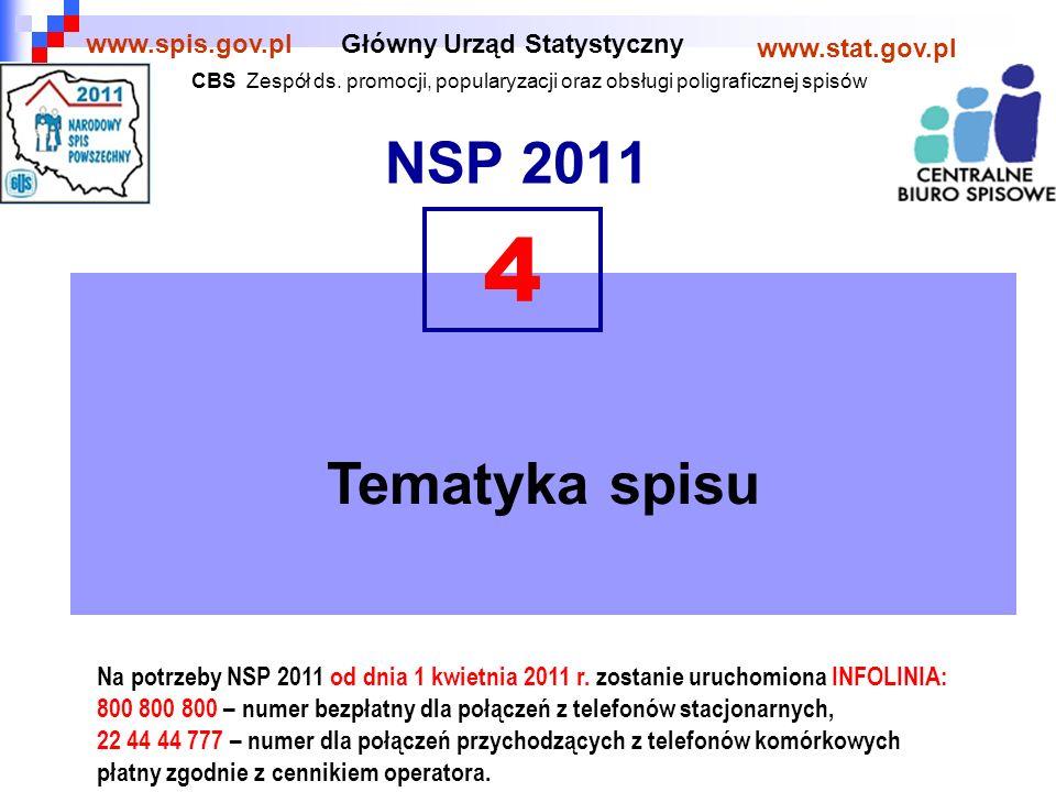 NSP 2011 Główny Urząd Statystyczny www.stat.gov.pl www.spis.gov.pl Tematyka spisu 4 Na potrzeby NSP 2011 od dnia 1 kwietnia 2011 r.