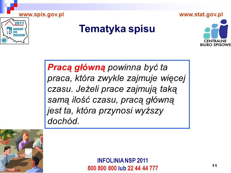 11 www.spis.gov.plwww.stat.gov.pl Pracą główną powinna być ta praca, która zwykle zajmuje więcej czasu.
