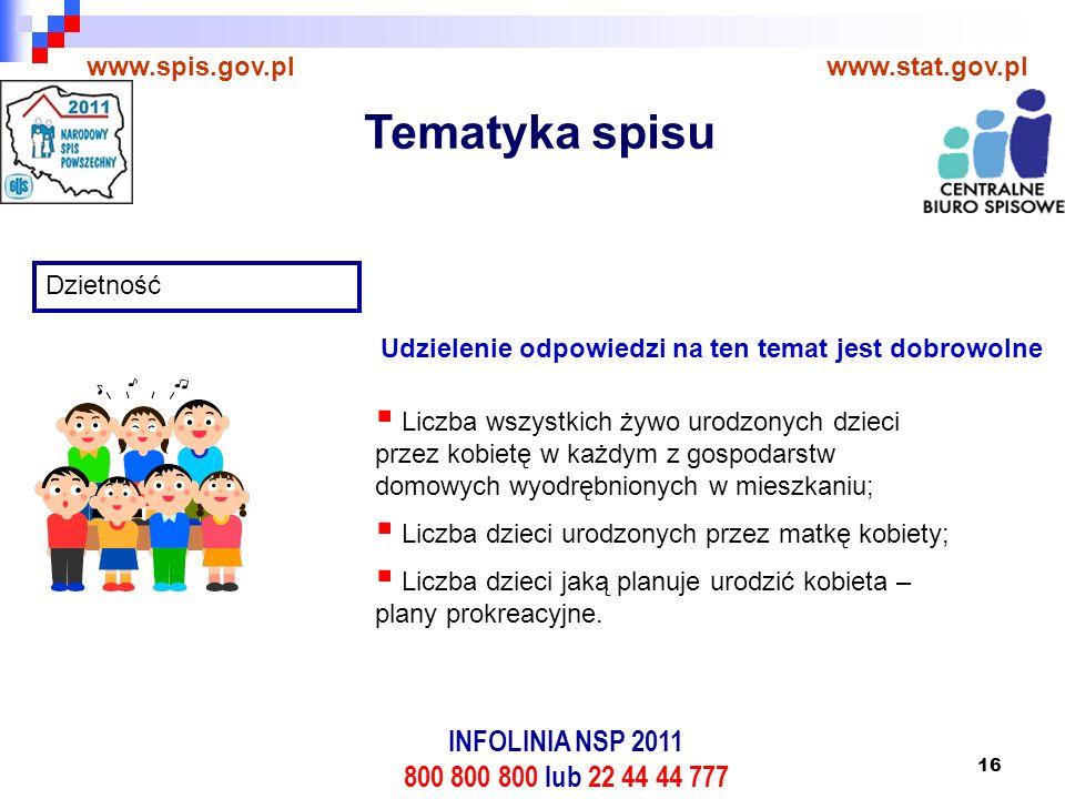 16 www.spis.gov.plwww.stat.gov.pl Dzietność  Liczba wszystkich żywo urodzonych dzieci przez kobietę w każdym z gospodarstw domowych wyodrębnionych w mieszkaniu;  Liczba dzieci urodzonych przez matkę kobiety;  Liczba dzieci jaką planuje urodzić kobieta – plany prokreacyjne.