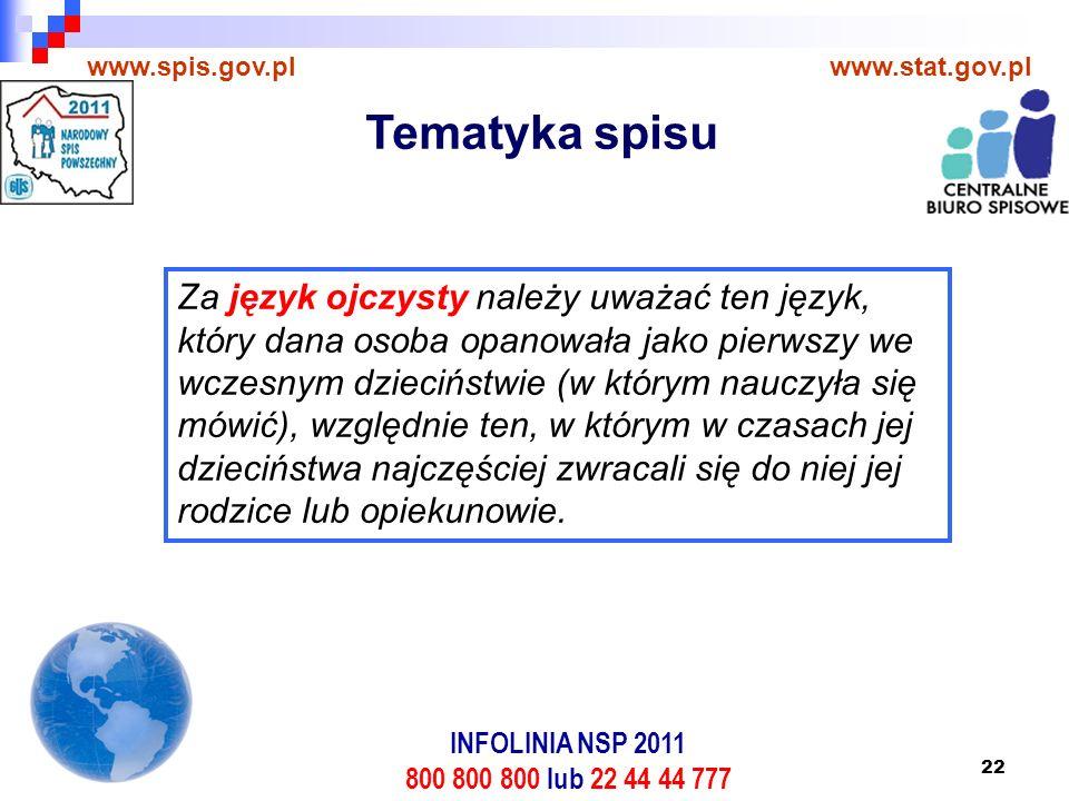 22 www.spis.gov.plwww.stat.gov.pl Za język ojczysty należy uważać ten język, który dana osoba opanowała jako pierwszy we wczesnym dzieciństwie (w którym nauczyła się mówić), względnie ten, w którym w czasach jej dzieciństwa najczęściej zwracali się do niej jej rodzice lub opiekunowie.