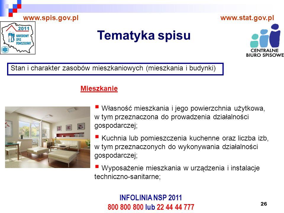 26 www.spis.gov.plwww.stat.gov.pl Stan i charakter zasobów mieszkaniowych (mieszkania i budynki)  Własność mieszkania i jego powierzchnia użytkowa, w tym przeznaczona do prowadzenia działalności gospodarczej;  Kuchnia lub pomieszczenia kuchenne oraz liczba izb, w tym przeznaczonych do wykonywania działalności gospodarczej;  Wyposażenie mieszkania w urządzenia i instalacje techniczno-sanitarne; Mieszkanie Tematyka spisu INFOLINIA NSP 2011 800 800 800 lub 22 44 44 777