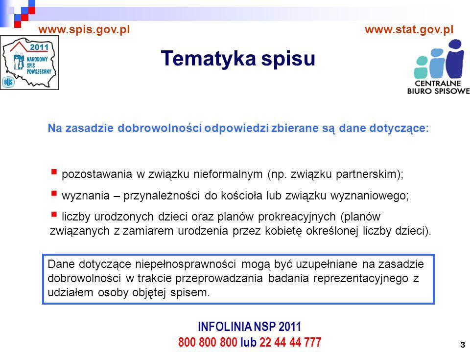 3 www.spis.gov.plwww.stat.gov.pl Na zasadzie dobrowolności odpowiedzi zbierane są dane dotyczące:  pozostawania w związku nieformalnym (np.