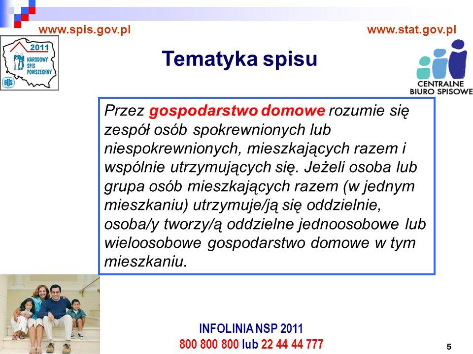 5 www.spis.gov.plwww.stat.gov.pl Przez gospodarstwo domowe rozumie się zespół osób spokrewnionych lub niespokrewnionych, mieszkających razem i wspólnie utrzymujących się.