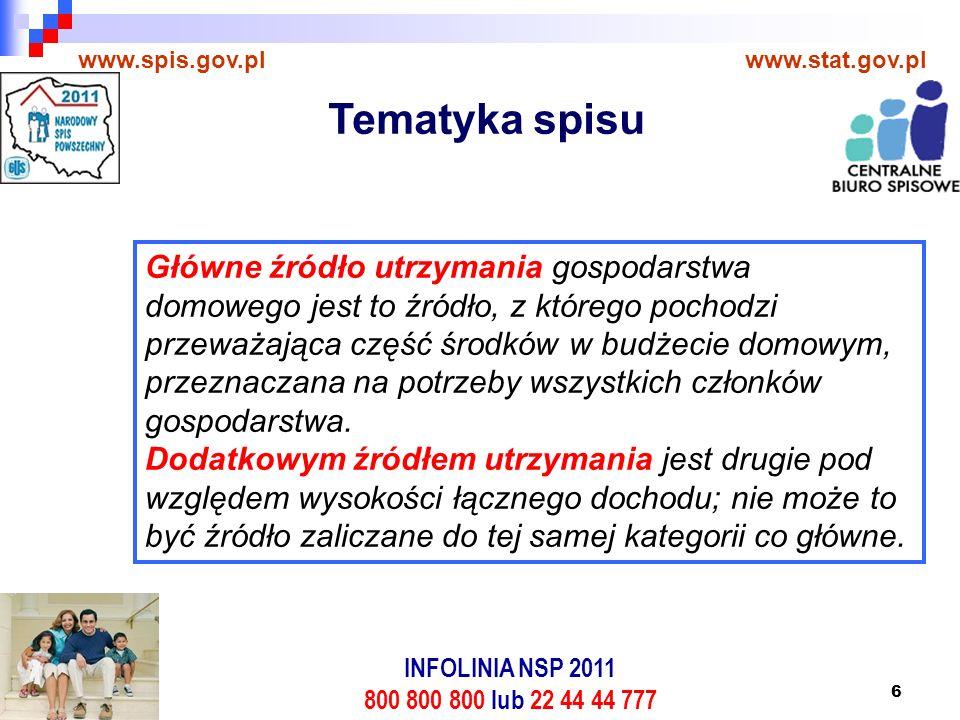 6 www.spis.gov.plwww.stat.gov.pl Główne źródło utrzymania gospodarstwa domowego jest to źródło, z którego pochodzi przeważająca część środków w budżecie domowym, przeznaczana na potrzeby wszystkich członków gospodarstwa.