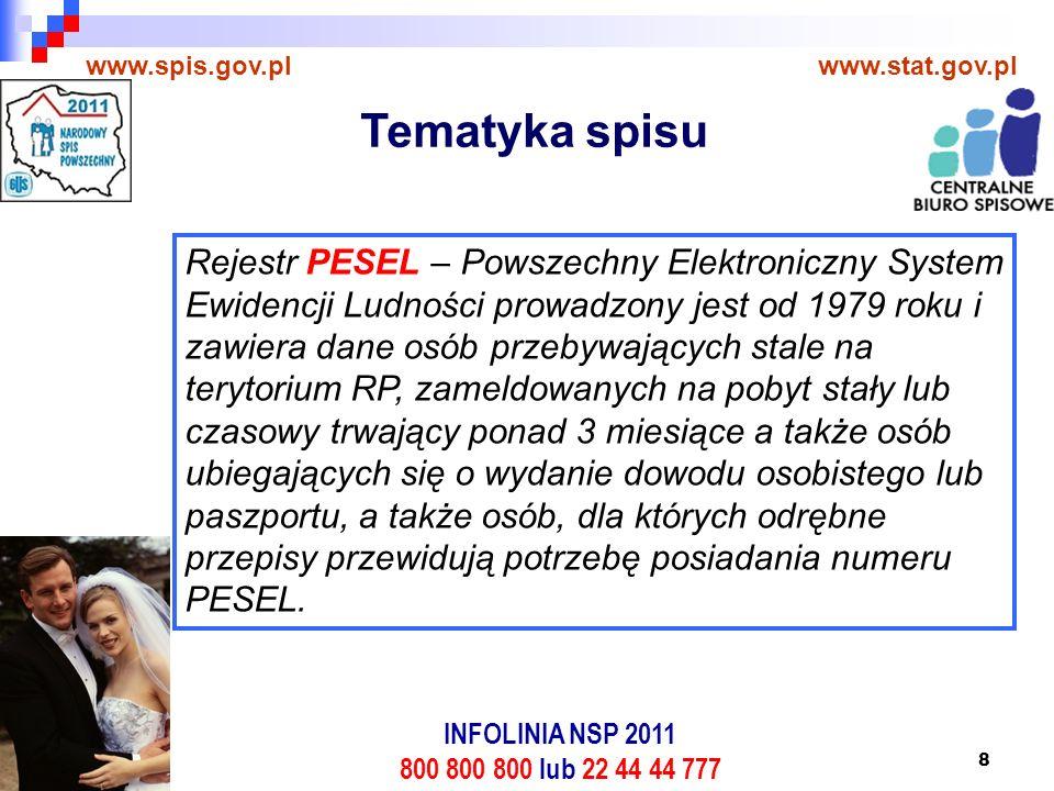 8 www.spis.gov.plwww.stat.gov.pl Rejestr PESEL – Powszechny Elektroniczny System Ewidencji Ludności prowadzony jest od 1979 roku i zawiera dane osób przebywających stale na terytorium RP, zameldowanych na pobyt stały lub czasowy trwający ponad 3 miesiące a także osób ubiegających się o wydanie dowodu osobistego lub paszportu, a także osób, dla których odrębne przepisy przewidują potrzebę posiadania numeru PESEL.