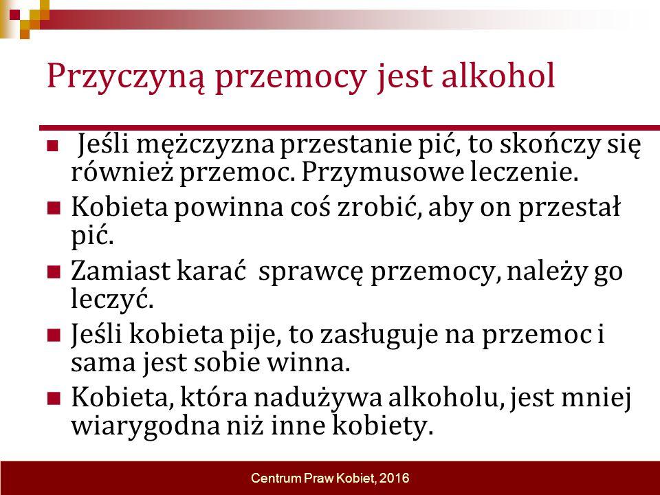 Przyczyną przemocy jest alkohol Jeśli mężczyzna przestanie pić, to skończy się również przemoc.