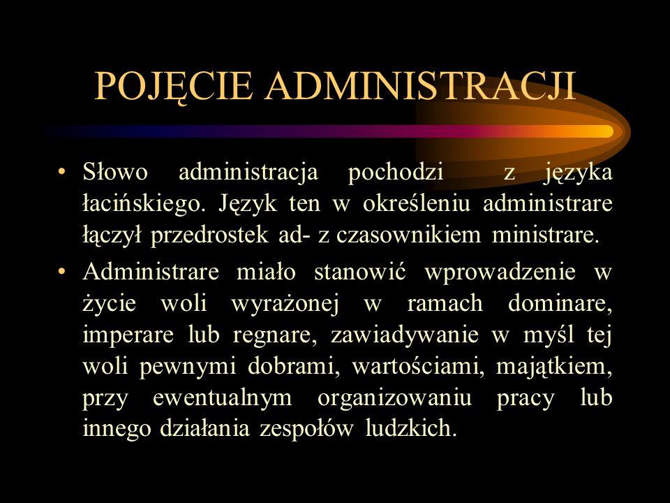POJĘCIE ADMINISTRACJI Słowo administracja pochodzi z języka łacińskiego. Język ten w określeniu administrare łączył przedrostek ad- z czasownikiem min