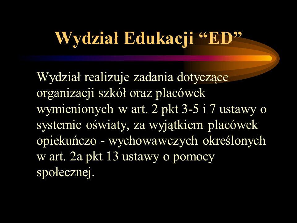 """Wydział Edukacji """"ED"""" Wydział realizuje zadania dotyczące organizacji szkół oraz placówek wymienionych w art. 2 pkt 3-5 i 7 ustawy o systemie oświaty,"""