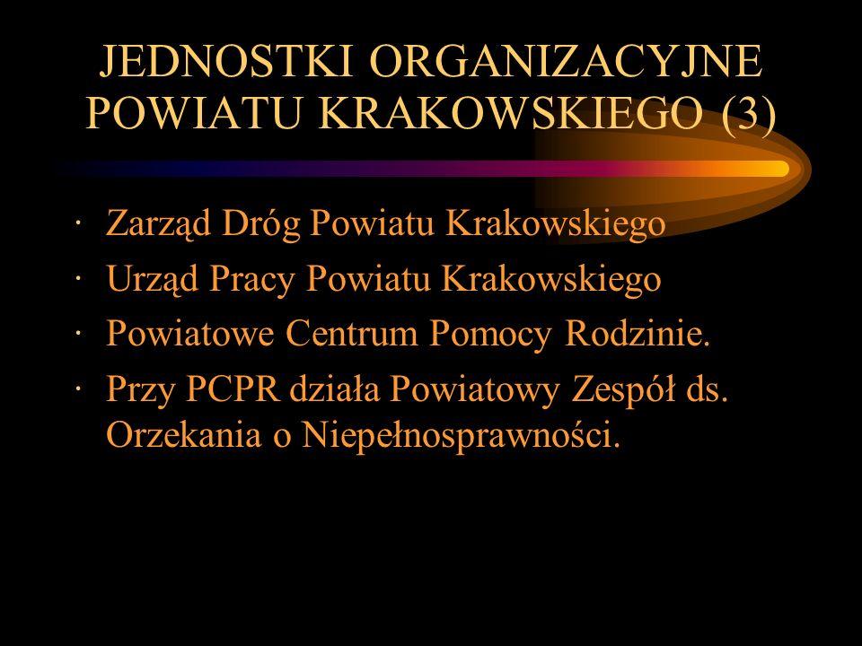 JEDNOSTKI ORGANIZACYJNE POWIATU KRAKOWSKIEGO (3) ·Zarząd Dróg Powiatu Krakowskiego ·Urząd Pracy Powiatu Krakowskiego ·Powiatowe Centrum Pomocy Rodzini