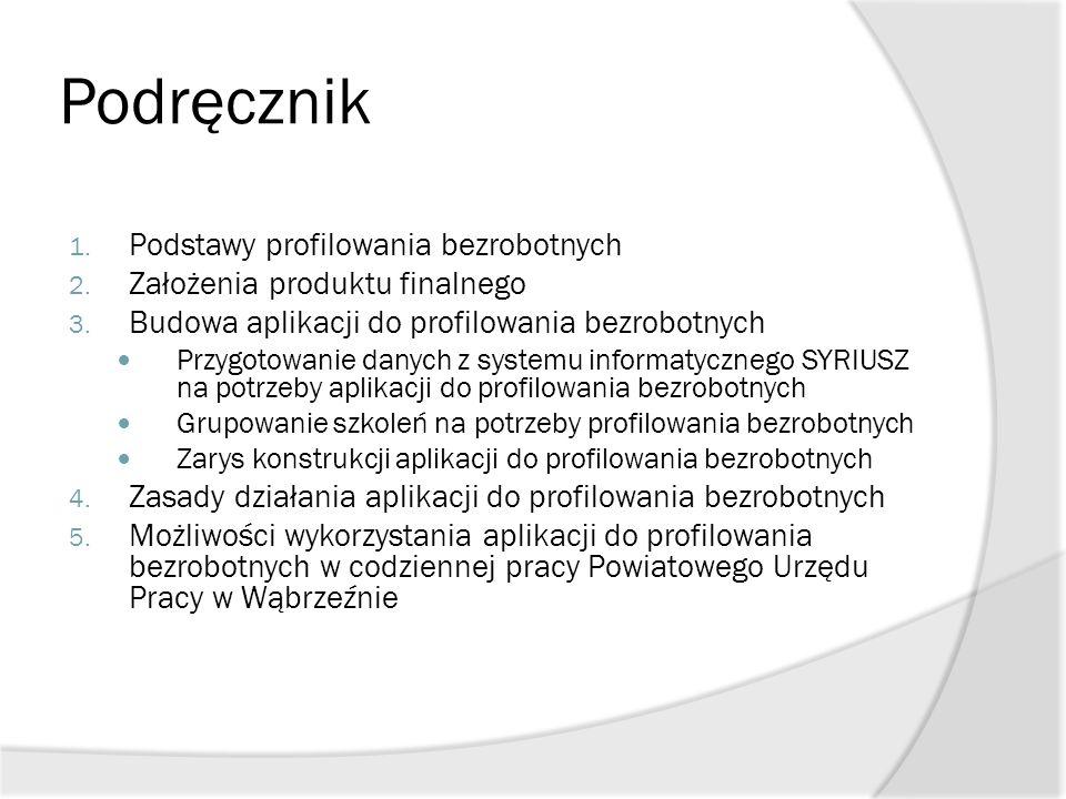 Podręcznik 1. Podstawy profilowania bezrobotnych 2. Założenia produktu finalnego 3. Budowa aplikacji do profilowania bezrobotnych Przygotowanie danych