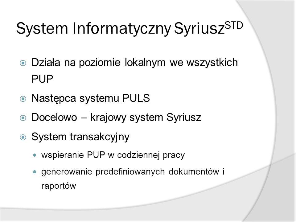 System Informatyczny Syriusz STD  Działa na poziomie lokalnym we wszystkich PUP  Następca systemu PULS  Docelowo – krajowy system Syriusz  System
