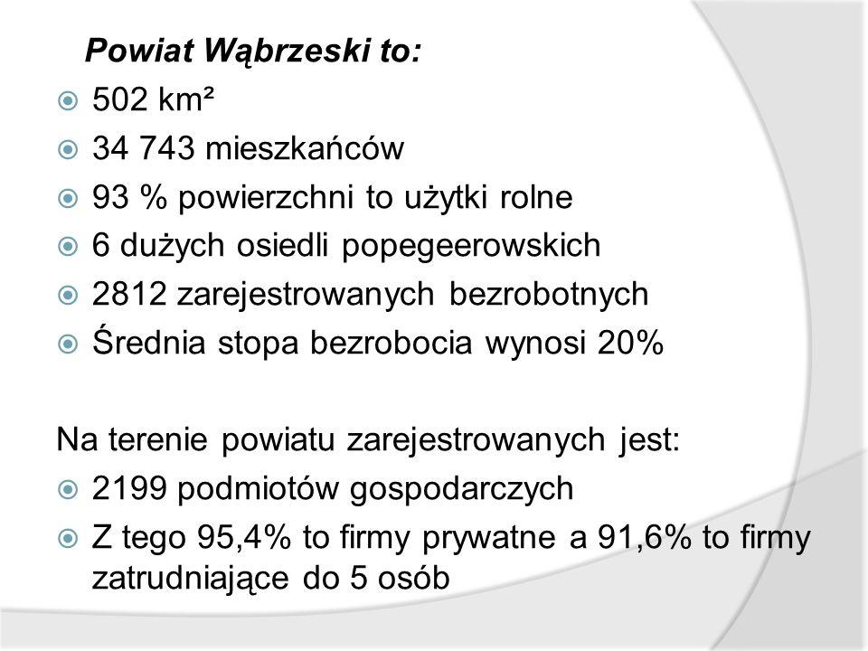 Powiat Wąbrzeski to:  502 km²  34 743 mieszkańców  93 % powierzchni to użytki rolne  6 dużych osiedli popegeerowskich  2812 zarejestrowanych bezr