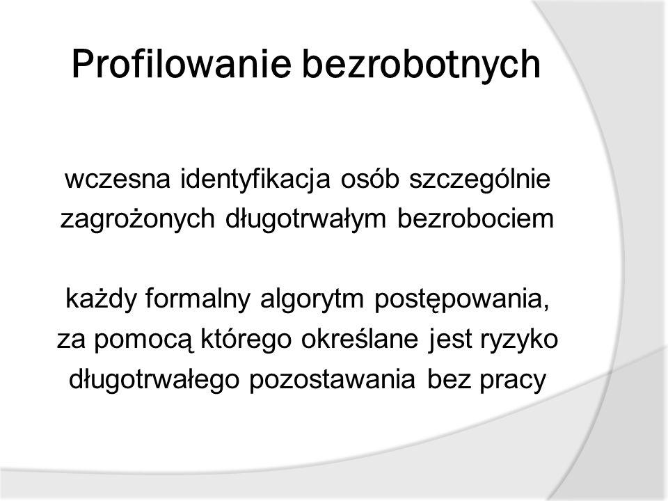 Profilowanie bezrobotnych wczesna identyfikacja osób szczególnie zagrożonych długotrwałym bezrobociem każdy formalny algorytm postępowania, za pomocą