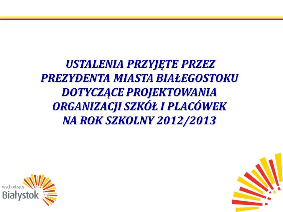 USTALENIA PRZYJĘTE PRZEZ PREZYDENTA MIASTA BIAŁEGOSTOKU DOTYCZĄCE PROJEKTOWANIA ORGANIZACJI SZKÓŁ I PLACÓWEK NA ROK SZKOLNY 2012/2013