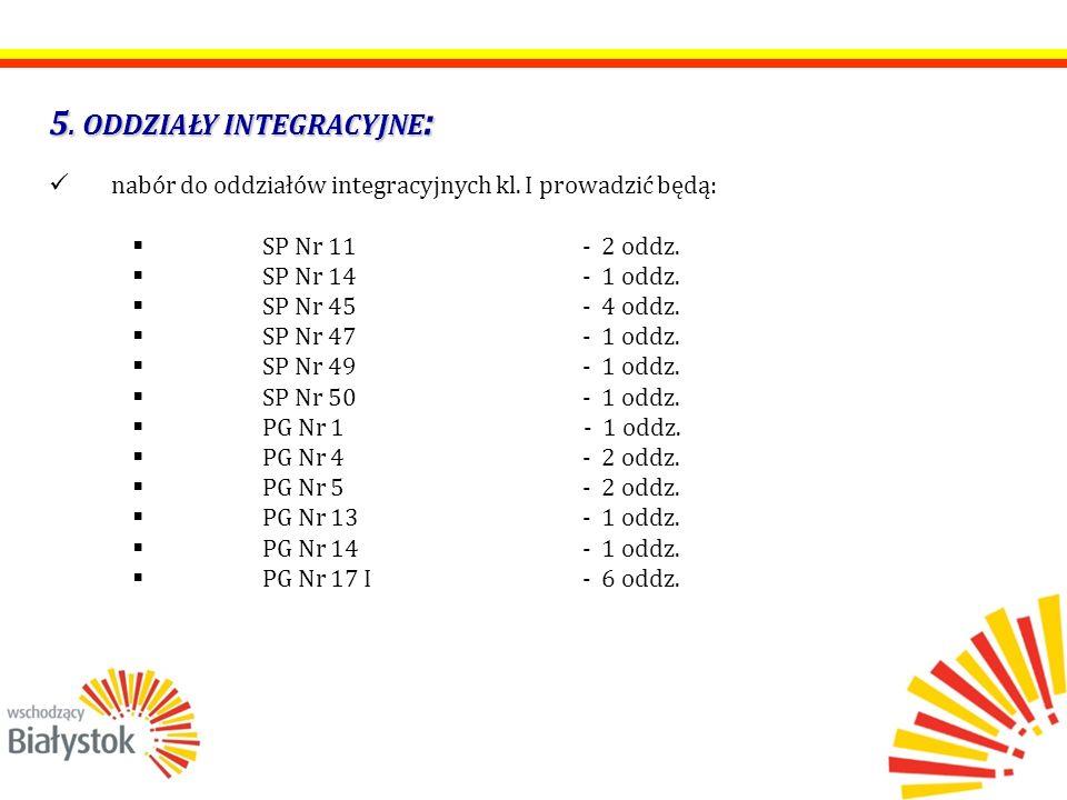 5. ODDZIAŁY INTEGRACYJNE : nabór do oddziałów integracyjnych kl. I prowadzić będą:  SP Nr 11 - 2 oddz.  SP Nr 14 - 1 oddz.  SP Nr 45 - 4 oddz.  SP