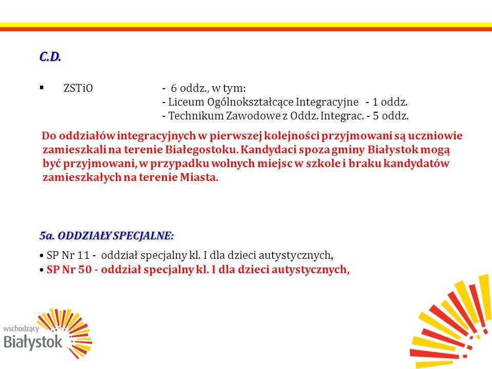C.D.  ZSTiO- 6 oddz., w tym: - Liceum Ogólnokształcące Integracyjne - 1 oddz. - Technikum Zawodowe z Oddz. Integrac. - 5 oddz. Do oddziałów integracy