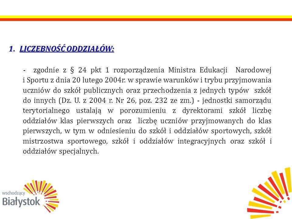 USTALENIA ORGANU PROWADZĄCEGO NA ROK SZKOLNY 2012/2013 LICZEBNOŚĆ ODDZIAŁÓW KL.