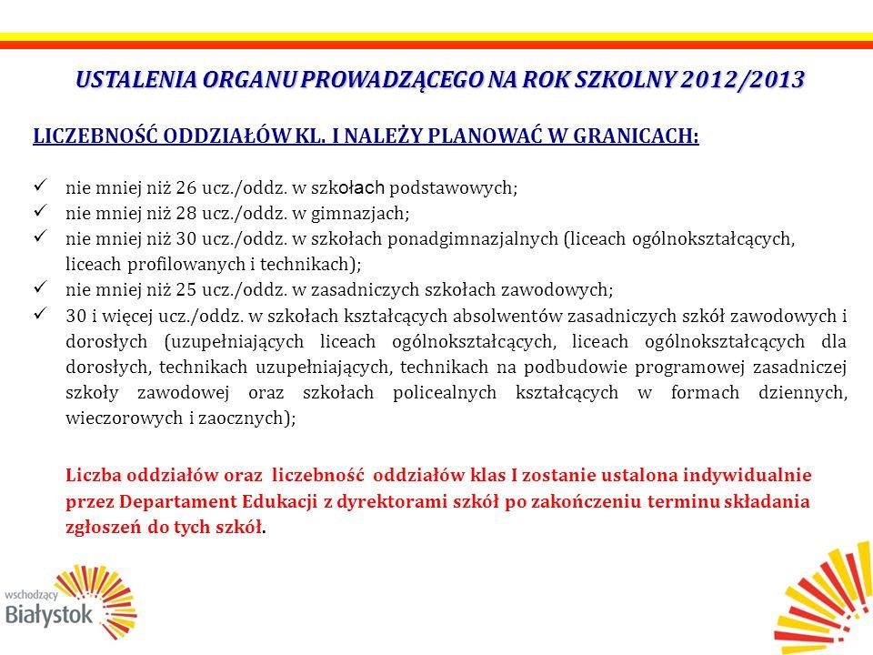USTALENIA ORGANU PROWADZĄCEGO NA ROK SZKOLNY 2012/2013 LICZEBNOŚĆ ODDZIAŁÓW KL. I NALEŻY PLANOWAĆ W GRANICACH: nie mniej niż 26 ucz./oddz. w szk ołach