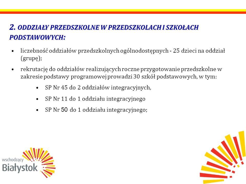 2. ODDZIAŁY PRZEDSZKOLNE W PRZEDSZKOLACH I SZKOŁACH PODSTAWOWYCH : liczebność oddziałów przedszkolnych ogólnodostępnych - 25 dzieci na oddział (grupę)