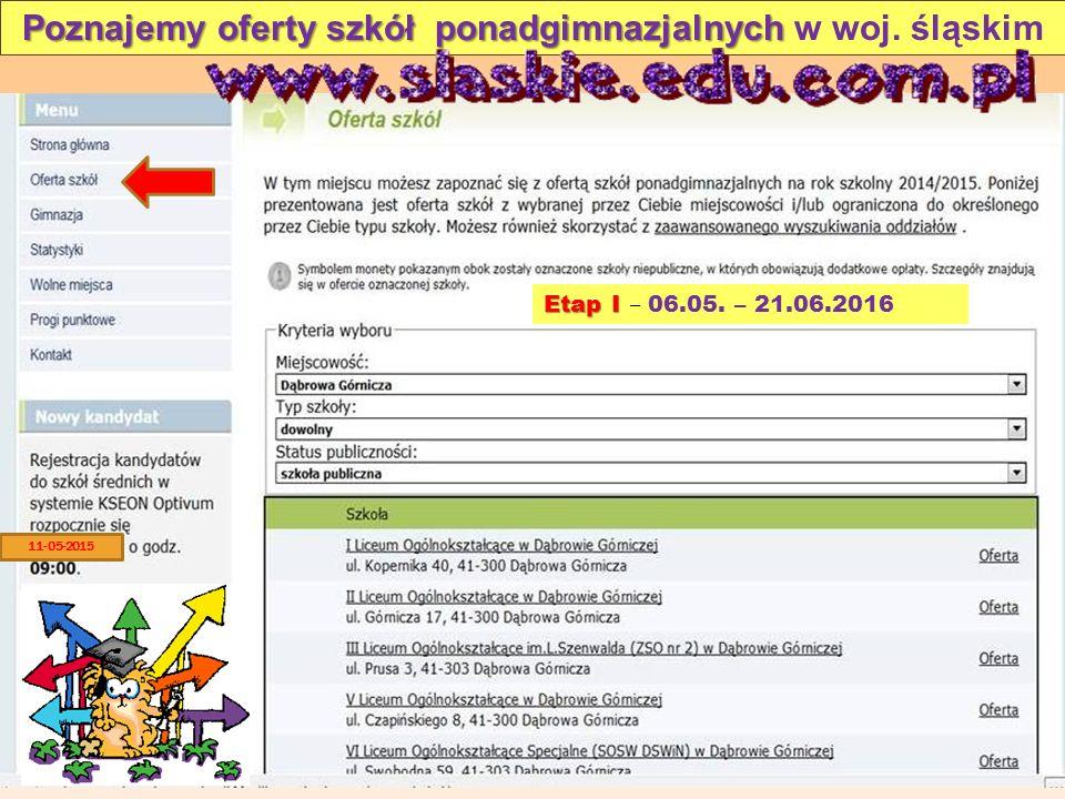Poznajemy oferty szkół ponadgimnazjalnych Poznajemy oferty szkół ponadgimnazjalnych w woj. śląskim Etap I Etap I – 06.05. – 21.06.2016 11-05-2015