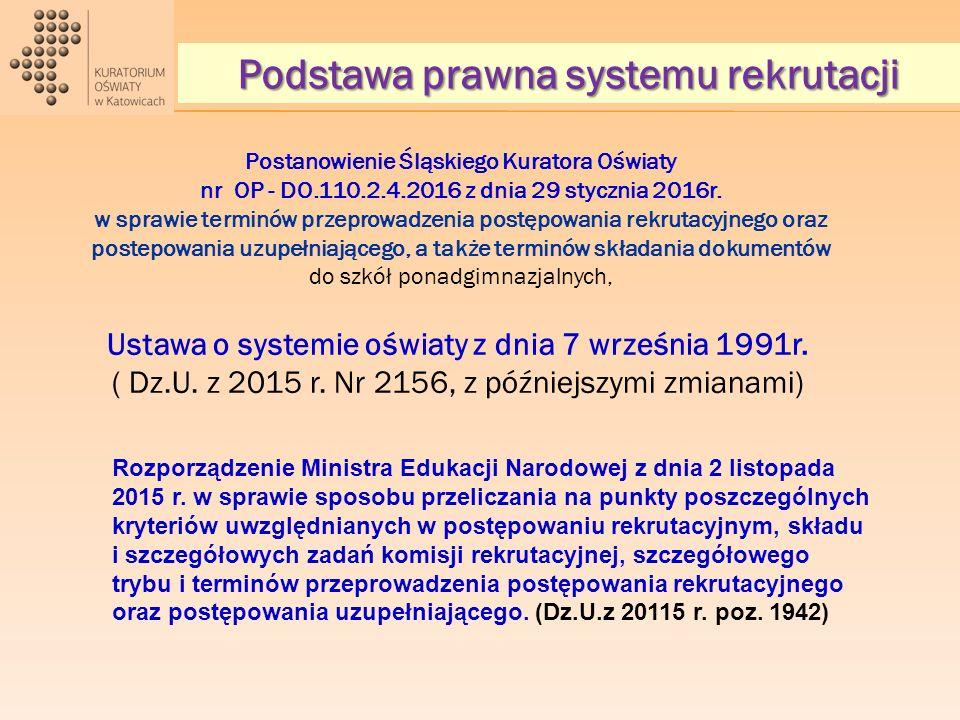 Postanowienie Śląskiego Kuratora Oświaty nr OP - DO.110.2.4.2016 z dnia 29 stycznia 2016r. w sprawie terminów przeprowadzenia postępowania rekrutacyjn