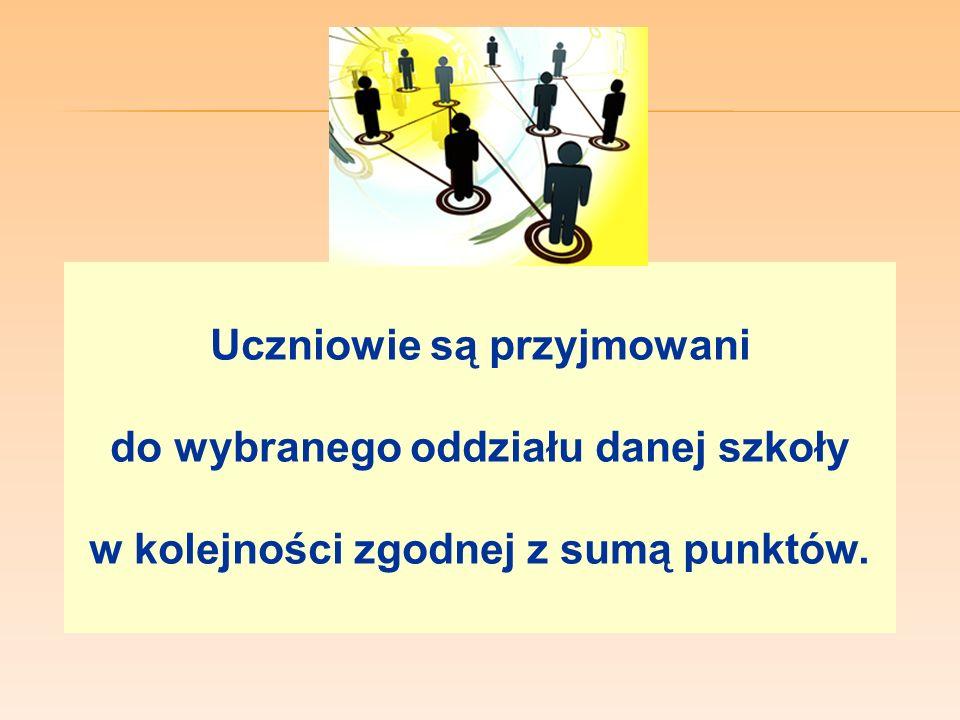 W przypadku większej liczby kandydatów spełniających w/w warunki rekrutacji niż liczba wolnych miejsc w szkole, na pierwszym etapie postępowania rekrutacyjnego są brane pod uwagę łącznie następujące kryteria: 1)wyniki egzaminu gimnazjalnego, 2)wymienione na świadectwie ukończenia gimnazjum oceny z języka polskiego z trzech obowiązkowych zajęć edukacyjnych ustalonych przez dyrektora danej szkoły jako brane pod uwagę w postępowaniu rekrutacyjnym do danego oddziału tej szkoły; 3) świadectwo ukończenia gimnazjum z wyróżnieniem; 4) szczególne osiągnięcia wymienione na świadectwie ukończenia gimnazjum: a) uzyskanie wysokiego miejsca nagrodzonego lub uhonorowanego zwycięskim tytułem w zawodach wiedzy, artystycznych i sportowych, organizowanych przez kuratora oświaty albo organizowanych co najmniej na szczeblu powiatowym przez inne podmioty działające na terenie szkoły; b) osiągnięcia w zakresie aktywności społecznej, w tym na rzecz środowiska szkolnego, w szczególności w formie wolontariatu; 5) w przypadku kandydatów ubiegających się o przyjęcie do oddziałów wymagających szczególnych indywidualnych predyspozycji – wyniki sprawdzianu uzdolnień kierunkowych.