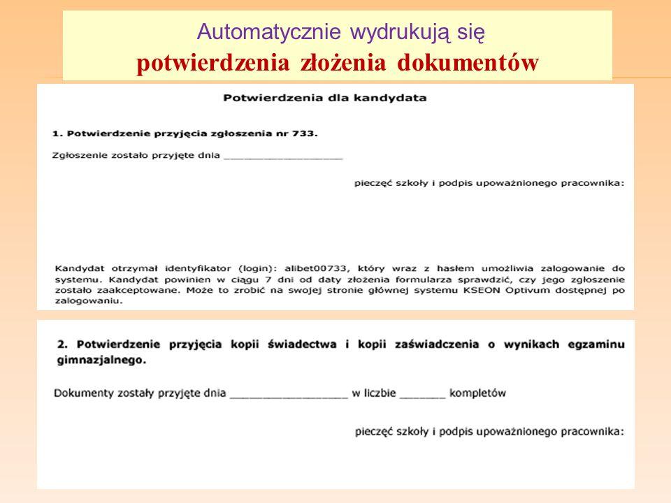 Automatycznie wydrukują się potwierdzenia złożenia dokumentów