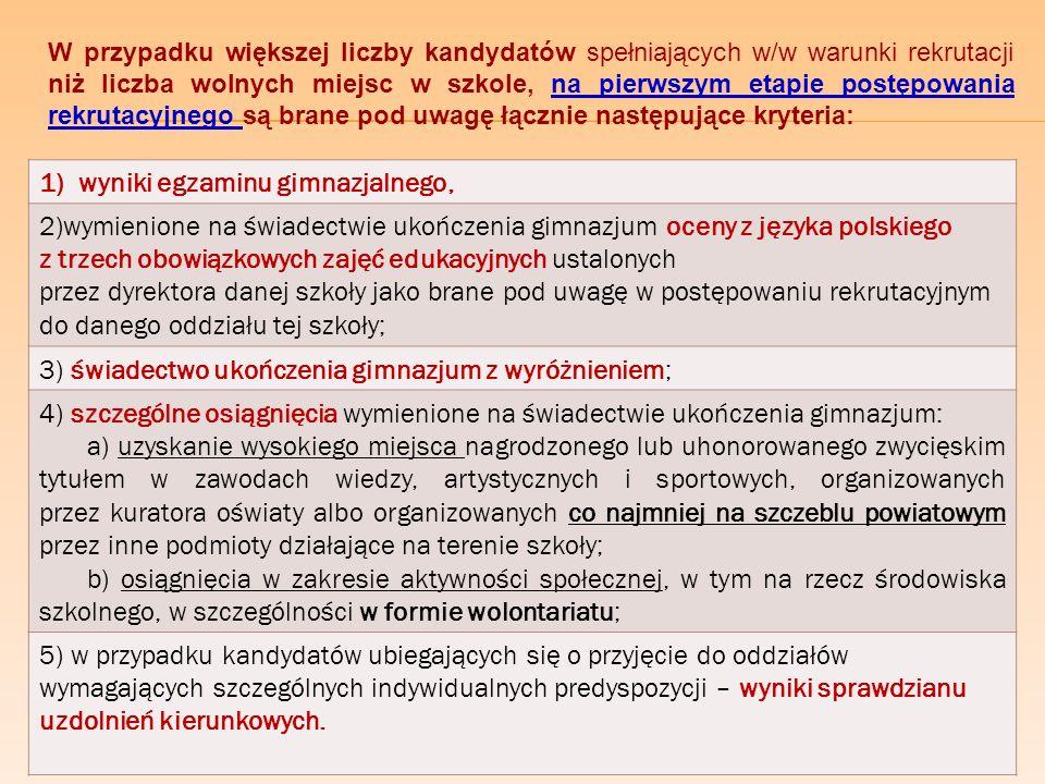 Zasady przyznawania punktów za oceny i osi ą gni ę cia ( zgodnie z decyzją Śląskiego Kuratora Oświaty) ZagadnieniePunktacja szczegółowaPunktacja maksymalna Język polski dopuszczający – 2 punktów 20 punktów dostateczny – 8 punktów dobry – 12 punktów bardzo dobry –16 punktów celujący – 20 punktów Pierwsze wybrane zajęcia edukacyjnejak w przypadku języka polskiego 20 punktów Drugie wybrane zajęcia edukacyjnejak w przypadku języka polskiego20 punktów Trzecie wybrane zajęcia edukacyjnejak w przypadku języka polskiego 20 punktów Świadectwo ukończenia gimnazjum z wyróżnieniem 5 punktów SZCZEGÓLNE OSIĄGNIĘCIA WYMIENIONE NA ŚWIADECTWIE UKOŃCZENIA GIMNAZJUM BRANE POD UWAGĘ W CZASIE REKRUTACJI uzyskanie w zawodach wiedzy będących konkursem o zasięgu ponadwojewódzkim organizowanym przez kuratorów oświaty (konieczny wpis na świadectwie ukończenia gimnazjum): a) tytułu finalisty konkursu przedmiotowego – 10 punktów, tytułu laureata konkursu tematycznego lub interdyscyplinarnego – 7 punktów, tytułu finalisty konkursu tematycznego lub interdyscyplinarnego – 5 punktów; uzyskanie w zawodach wiedzy będących konkursem o zasięgu wojewódzkim organizowanym przez kuratora oświaty (konieczny wpis na świadectwie ukończenia gimnazjum): dwóch lub więcej tytułów finalisty konkursu przedmiotowego – 10 punktów, dwóch lub więcej tytułów laureata konkursu tematycznego lub interdyscyplinarnego – 7 punktów, dwóch lub więcej tytułów finalisty konkursu tematycznego lub interdyscyplinarnego – 5 punktów, tytułu finalisty konkursu przedmiotowego – 7 punktów, tytułu laureata konkursu tematycznego lub interdyscyplinarnego – 5 punktów, tytułu finalisty konkursu tematycznego lub interdyscyplinarnego – 3 punkty; uzyskanie wysokiego miejsca w zawodach wiedzy innych niż wymienione wyżej, artystycznych lub sportowych, organizowanych przez kuratora oświaty lub inne podmioty działające na terenie szkoły, na szczeblu (konieczny wpis na świadectwie ukończenia gimnazjum): a) międzynarodowym – 4 punkty, krajowym – przy