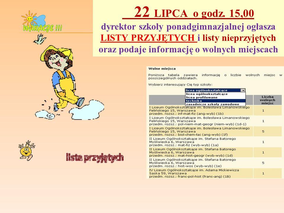 22 LIPCA o godz. 15,00 dyrektor szkoły ponadgimnazjalnej ogłasza LISTY PRZYJĘTYCH i listy nieprzyjętych oraz podaje informację o wolnych miejscach